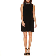 Blu Sage Sleeveless Beaded A-Line Dress-Petites
