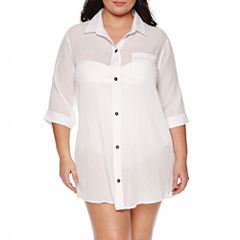 a.n.a Solid Crepe Swimsuit Cover-Up Dress-Plus