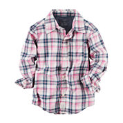 Carter's Girls Long Sleeve Flannel Shirt-Baby
