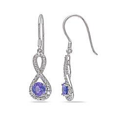 Genuine Tanzanite & Diamond Infinity Earrings