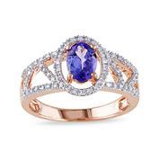 Genuine Tanzanite and Diamond 10K Rose Gold Open-Design Halo Ring