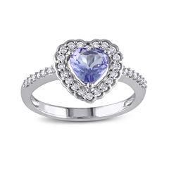 Genuine Tanzanite and Diamond 10K White Gold Heart Ring