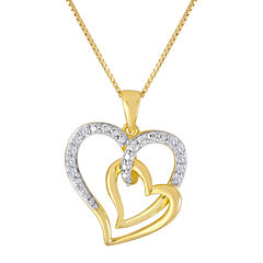 ForeverMine® 1/10 CT. T.W. Diamond 14K Yellow Gold/Sterling Silver Heart Pendant