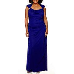 Scarlett Sleeveless Side-Drape Gown - Plus