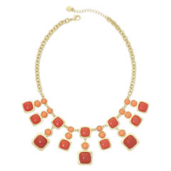 Monet® Coral and Red Stone Gold-Tone Drama Necklace