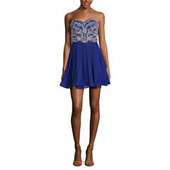 My Michelle Sleeveless Beaded Party Dress-Juniors