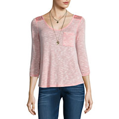 Self Esteem 3/4 Sleeve V Neck T-Shirt with Necklace-Juniors