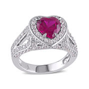 Heart-Shaped Lab-Created Ruby and Lab-Created White Sapphire Sterling Silver Ring