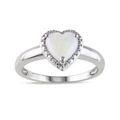 Heart-Shaped Genuine Opal Sterling Silver Ring