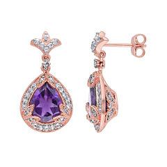 Genuine Amethyst, White Topaz and 1/10 CT. T.W. Diamond Earrings