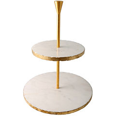 Thirstystone® Old Hollywood 2-Tier Gold Marble Dessert Stand