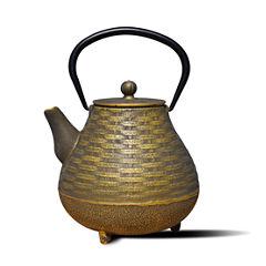 Old Dutch 41 Oz Black and Gold Cast Iron Orimono Teapot