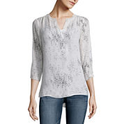 a.n.a Long Sleeve Woven Blouse