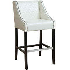 Taryn Quilted Bonded Leather Barstool with Nailhead Trim