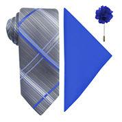 JF J. Ferrar® Plaid Pastel Tie, Pocket Square and Lapel Pin Set