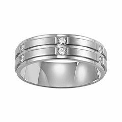 Unisex 1/6 CT. T.W. Genuine White Diamond Stainless Steel Wedding Band