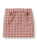 Button Plaid Skirt