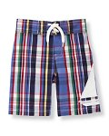 Plaid Sailboat Swim Trunk