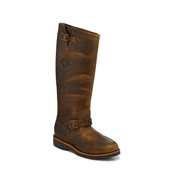 "Image for MEN'S 17"" IOWA TAN AMERICAN BISON MOCC TOE RUGGED OUTDOOR SNAKE BOOTS ; Style# 23909"