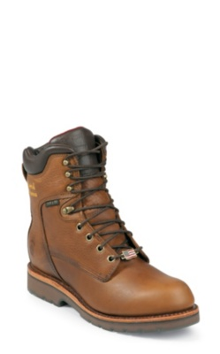 MEN'S 8inch TAN UTILITY WATERPROOF STEEL TOE CHIPPEWA COUNTRY RUGGED OUTDOOR BOOTS