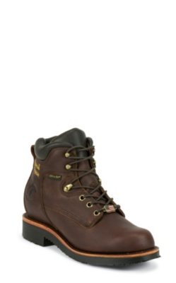 MEN'S 6inch RICH OILED WALNUT UTILITY WATERPROOF STEEL TOE LACE UP RUGGED OUTDOOR BOOTS
