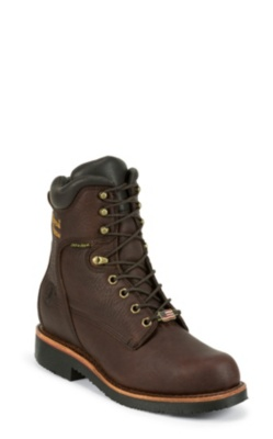MEN'S 8inch RICH OILED WALNUT UTILITY WATERPROOF INSULATED LACE UP RUGGED OUTDOOR BOOTS