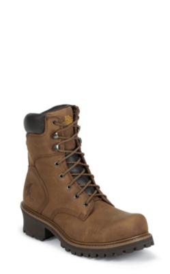MEN'S 8inch TOUGH BARK OBLIQUE STEEL TOE LOGGER RUGGED OUTDOOR BOOTS