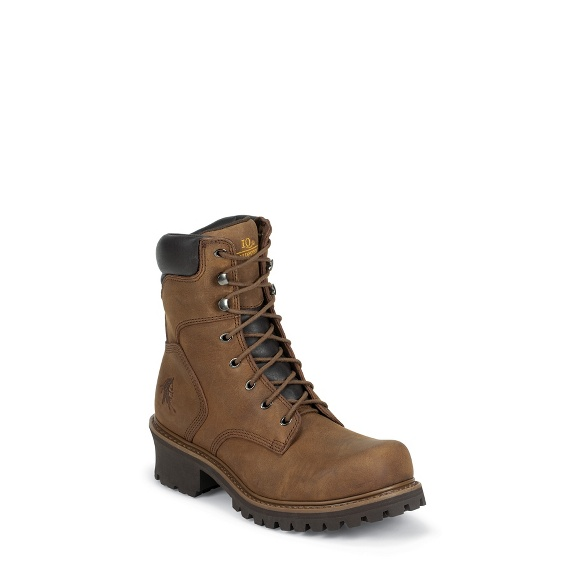"""Image for MEN'S 8"""" TOUGH BARK OBLIQUE STEEL TOE LOGGER RUGGED OUTDOOR BOOTS ; Style# 55025"""