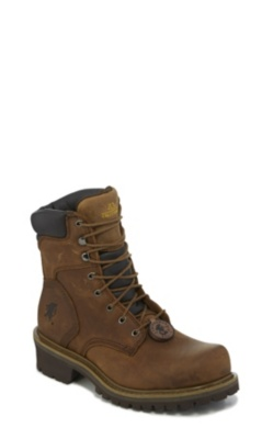 MEN'S 8inch HEAVY DUTY TOUGH BARK OBLIQUE STEEL TOE LOGGER RUGGED OUTDOOR BOOTS