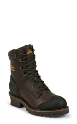 MEN'S 8inch CHOCOLATE OILED WATERPROOF COMPOSITION TOE LOGGER RUGGED OUTDOOR BOOTS