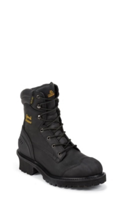 MEN'S 8inch BLACK OILED WATERPROOF INSULATED COMPOSITION TOE LOGGER RUGGED OUTDOOR BOOTS
