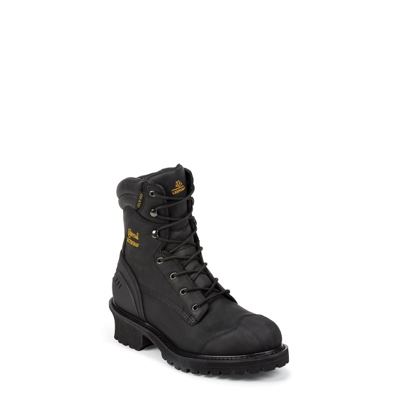 """Image for MEN'S 8"""" BLACK OILED WATERPROOF INSULATED COMPOSITION TOE LOGGER RUGGED OUTDOOR BOOTS ; Style# 55058"""