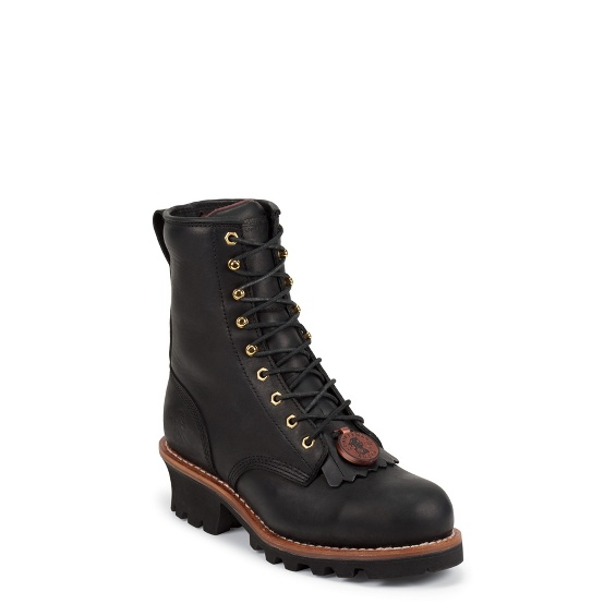 """Image for MEN'S 8"""" BLACK STEEL TOE LOGGER RUGGED OUTDOOR BOOTS ; Style# 73020"""