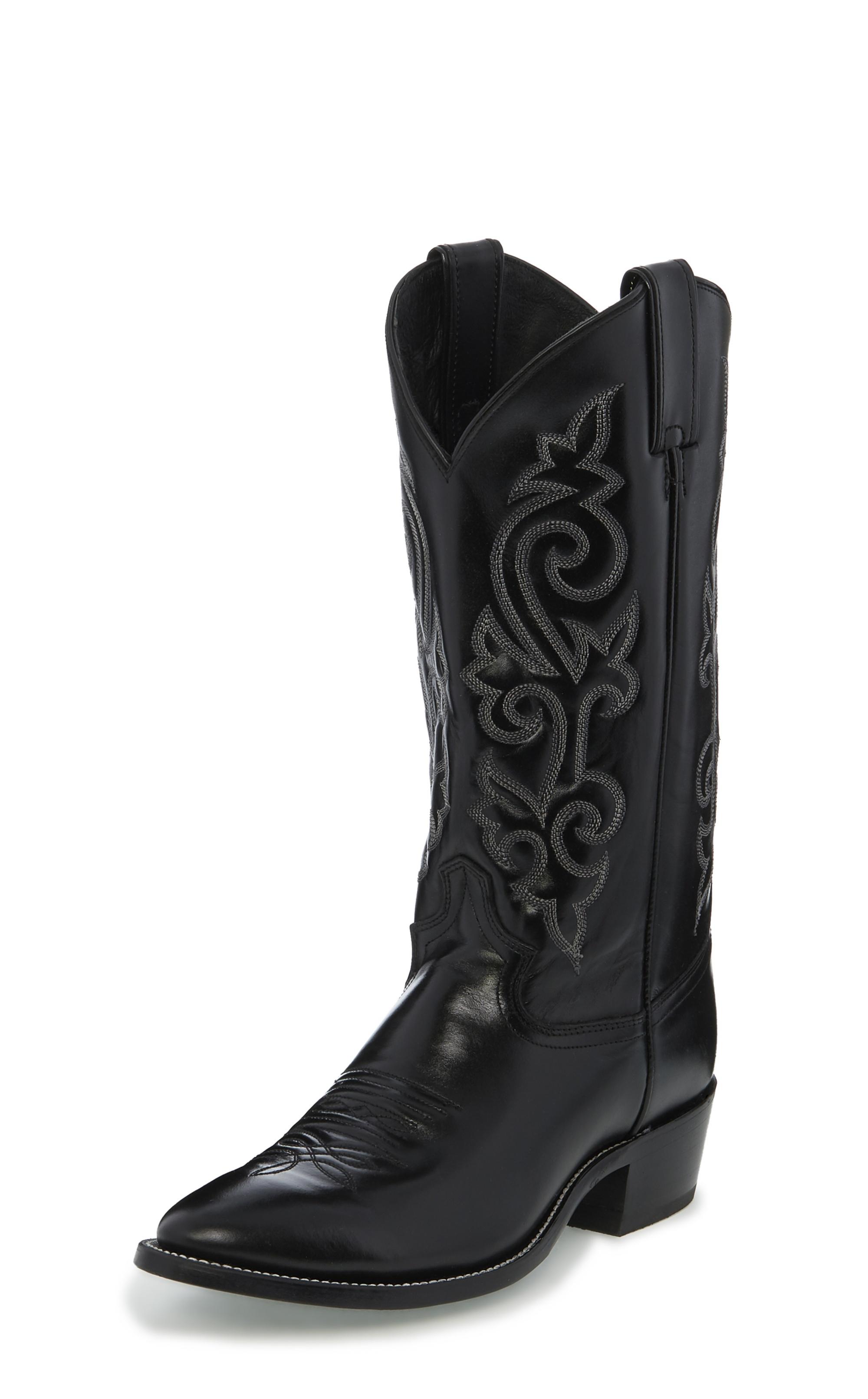 Mens Black Justin Boots Men's Black Western Calf Boots