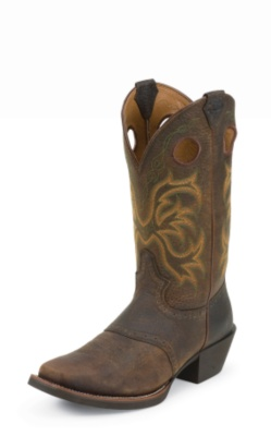 MEN'S DARK BROWN RAWHIDE STAMPEDE WESTERN BOOTS