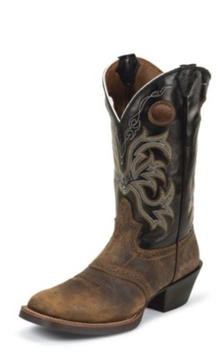 MEN'S TAN DISTRESSED BUFFALO STAMPEDE WESTERN BOOTS