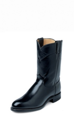 MEN'S BLACK KIPSKIN ROPER BOOTS