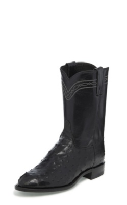 MEN'S BLACK FULL QUILL OSTRICH ROPER BOOTS