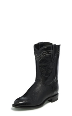 MEN'S BLACK SMOOTH OSTRICH ROPER BOOTS