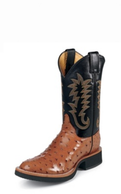 MEN'S COGNAC FULL QUILL OSTRICH TEKNO CREPE® WESTERN BOOTS