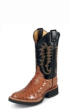 MEN'S COGNAC FULL QUILL OSTRICH EXOTIC BOOTS