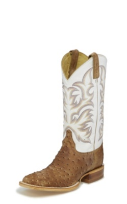 MEN'S ANTIQUE TAN VINTAGE FULL QUILL OSTRICH AQHA REMUDA® BOOTS