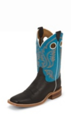MEN'S BLACK BENT RAIL® BOOTS WITH BRIGHT BLUE TOP