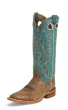 MEN'S BROWN DISTRESSED BENT RAIL® BOOTS WITH TURQUOISE TOP