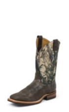 MEN'S DISTRESSED BROWN BENT RAIL® BOOTS WITH CAMOUFLAGE TOP