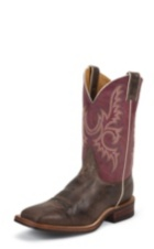 MEN'S DARK BROWN BENT RAIL® BOOTS WITH LIGHT PURPLE TOP