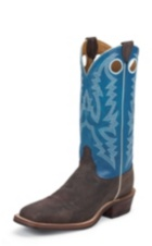 MEN'S DARK BROWN BENT RAIL® BOOTS WITH BRIGHT BLUE TOP