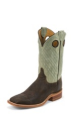 MEN'S DARK BROWN BENT RAIL® BOOTS WITH SAGE GREEN TEXTURED TOP