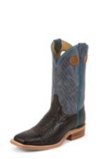 MEN'S BLACK BENT RAIL® BOOTS WITH DUSTY BLUE TEXTURED TOP