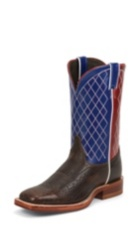 MEN'S DARK BROWN BENT RAIL® BOOTS WITH BLUE & RED TOP